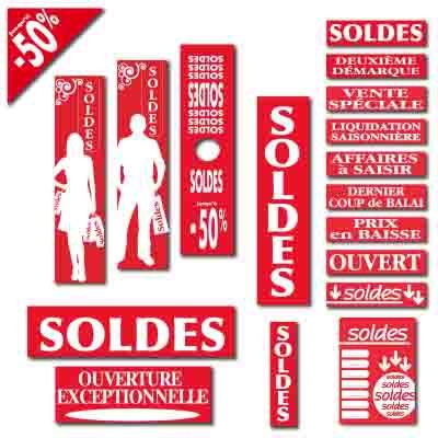 Affiches SOLDES rouge et blanc