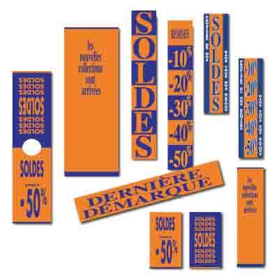 Affiches SOLDES orange, kaki, marine