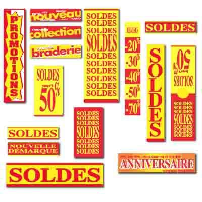 Affiches SOLDES rouge et jaune