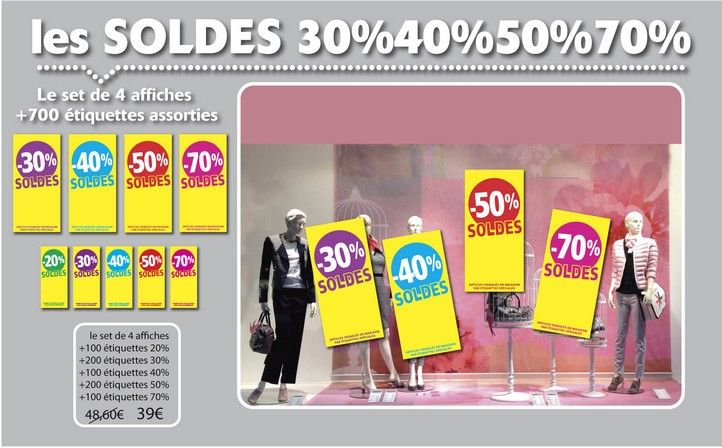 Affiches SOLDES 30% 40% 50% 70%