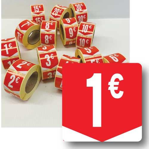 """Rouleau de 500 étiquettes adhésives """"1€"""" 35mm"""