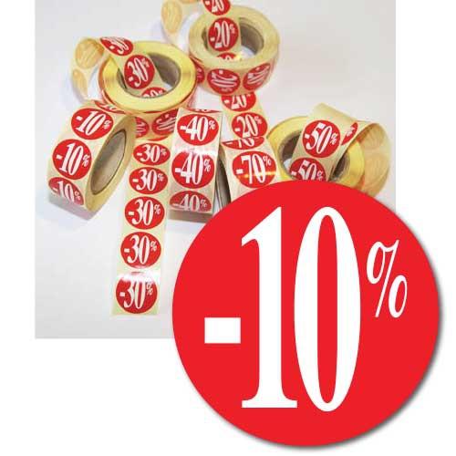 """Rouleau de 500 étiquettes adhésives """"-10%"""" 24 mm"""