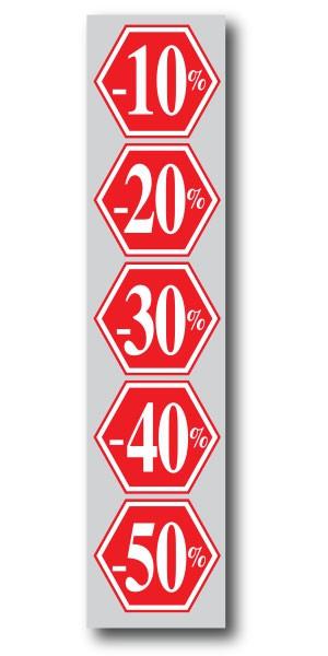 """Affiche  """"-10% -20% -30% -40% -50%"""" L40 H165 cm"""