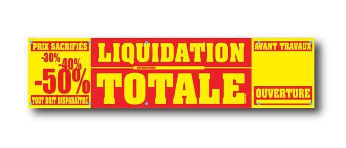 Bâche LIQUIDATION TOTALE  L250 H60 cm