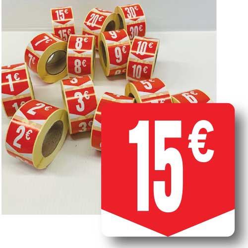 """Rouleau de 500 étiquettes adhésives """"15€"""" 35mm"""