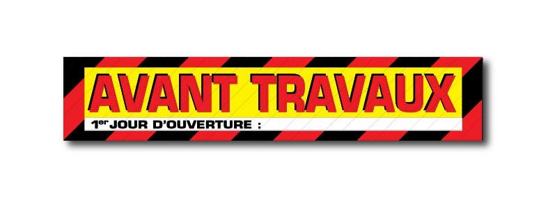 """Sticker adhésif """"AVANT TRAVAUX"""" L50 H10 cm"""