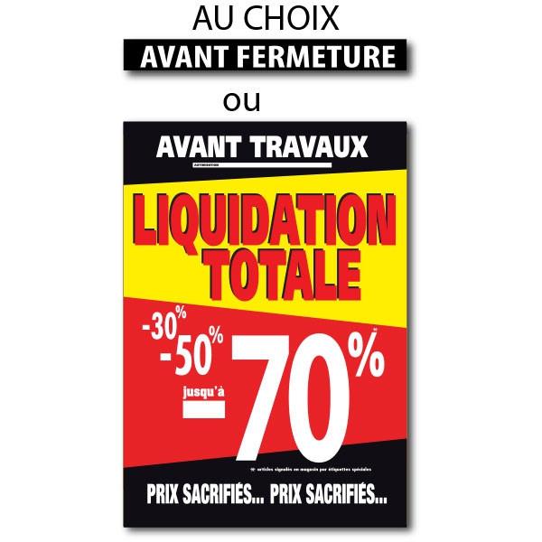 "Sticker adhésif ""LIQUIDATION TOTALE-70%"" L100 H140 cm"