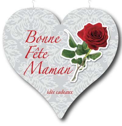 "Coeur ""Bonne Fête Maman"" L48 H44 cm"