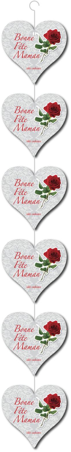 """Guirlande 6 coeurs """"Bonne fête maman"""" L15 H100 cm"""