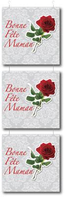 """Guirlande 3 cartons """"Bonne fête maman"""" L34 H115 cm"""