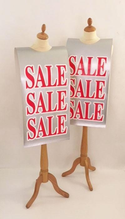 """Affiche mannequin  """"SALE..."""" L40 H168 cm"""