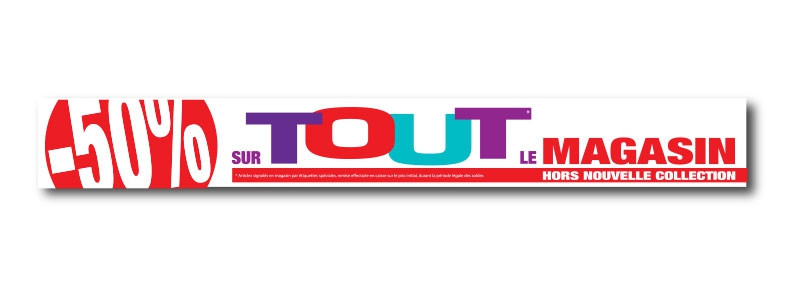 """Sticker adhésif """"-50% sur tout le magasin"""" L100 H12,5 cm"""