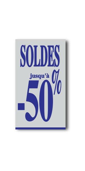"Affiche ""SOLDES jusqu'à -50%"" L40 H72 cm"
