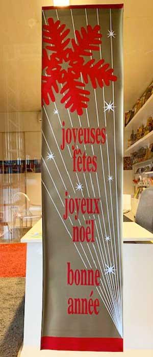 """Affiche """"joyeuses fêtes, joyeux Noël, bonne année"""" L40 H170 cm"""