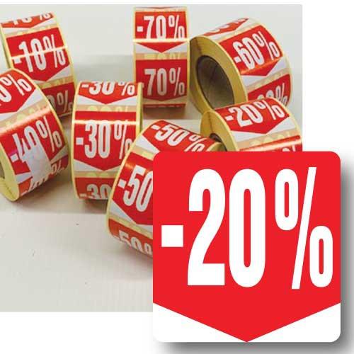 """Rouleau de 500 étiquettes adhésives """"20%"""" 35mm"""