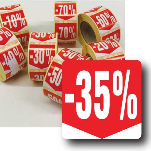 """Rouleau de 500 étiquettes adhésives """"35%"""" 35mm"""