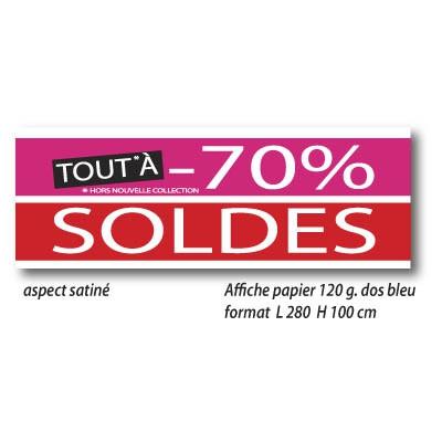 """Affiche """" SOLDES TOUT -70%"""" XXL .  L280 H100 cm"""