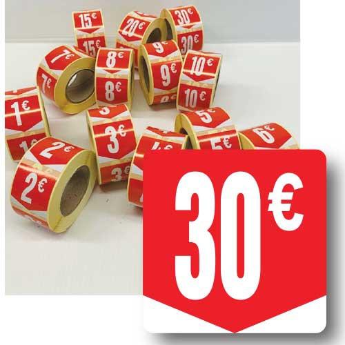 """Rouleau de 500 étiquettes adhésives """"30€"""" 35mm"""