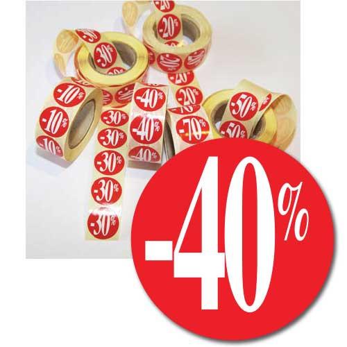 """Rouleau de 500 étiquettes adhésives """"-40%"""" 24 mm"""