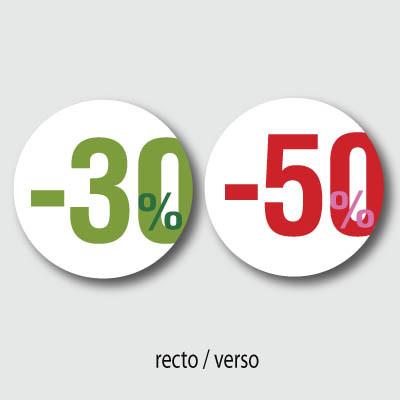 """Carton rond """"30% 50%"""""""