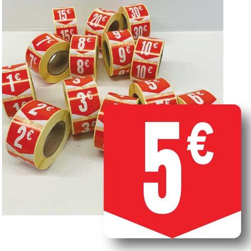 """Rouleau de 500 étiquettes adhésives """"5€"""" 35mm"""