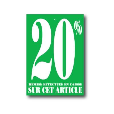 """Paquet de 100 étiquettes carton """"20%"""" L60 H85 mm"""