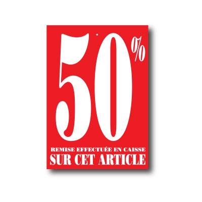 """Paquet de 100 étiquettes carton """"50%"""" L60 H85 mm"""