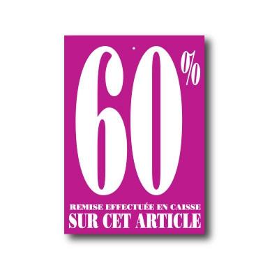 """Paquet de 100 étiquettes carton """"60%"""" L60 H85 mm"""