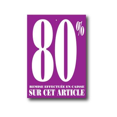 """Paquet de 100 étiquettes carton """"80%"""" SUR CET ARTICLE"""""""