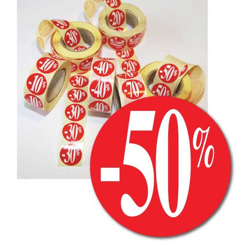 """Rouleau de 500 étiquettes adhésives """"-50%"""" 24mm"""