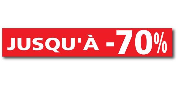 """Affiche """"JUSQU'A -70 %"""" L120 H20 cm"""