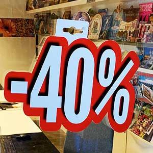 """Carton """"-40%"""" L24 H28 cm"""