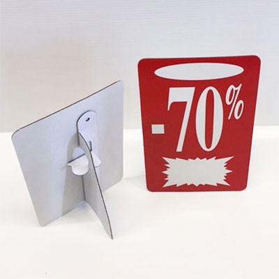 """Carton """"-70%"""" avec chevalet arrière L13 H22 cm"""