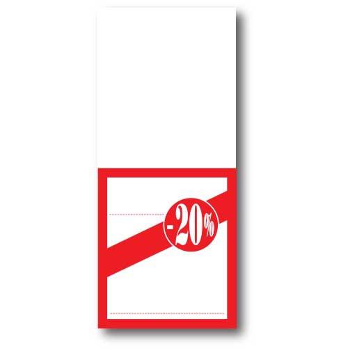 """Paquet de 250 étiquettes papier """"-20%"""" L52 H120 mm"""