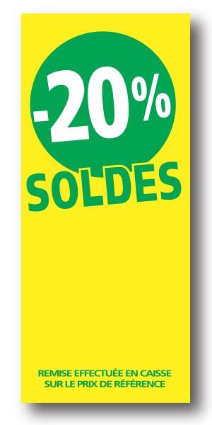"""Paquet de 100 étiquettes papier  """"-20% SOLDES"""" L60 H140mm"""