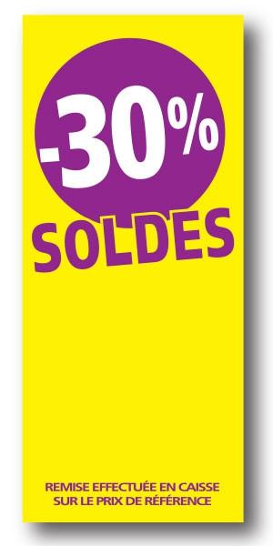 """Paquet de 100 étiquettes papier  """"-30% SOLDES"""" L60 H140 mm"""