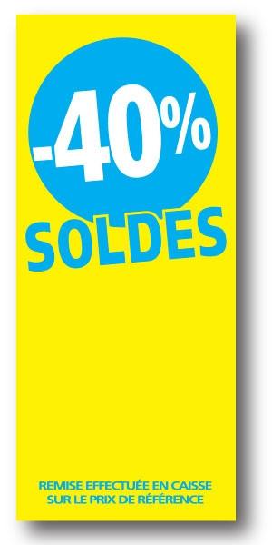 """Paquet de 100 étiquettes papier """"-40% SOLDES"""" L60 H140 mm"""