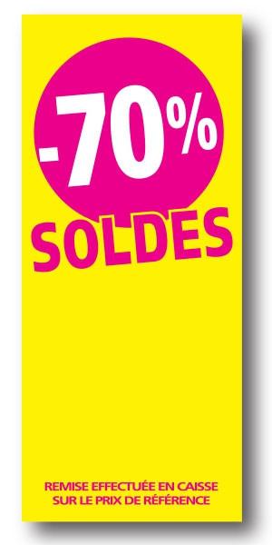 """Paquet de 100 étiquettes papier """"-70% SOLDES"""" L60 H140 mm"""