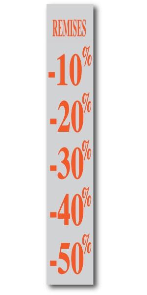 """Affiche """"REMISES -10 à -50 %"""" L28 H168 cm"""