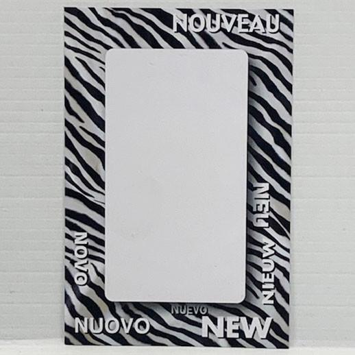 """Paquet de 100 étiquettes papier """"déco Zèbre NOUVEAU"""" L80 H120 mm"""