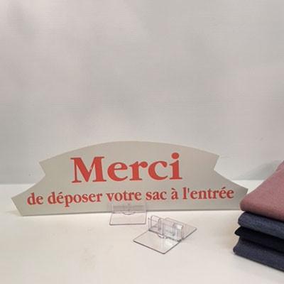 """Carton """"MERCI de déposer votre sac..."""" L36 H11 cm"""