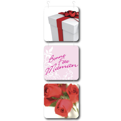 """Guirlande de 3 cartons  """"Bonne Fête Maman"""" L24 H80 cm"""