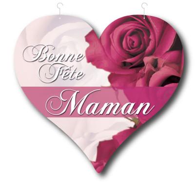 """Coeur carton """"Bonne fête maman"""" L48 H46 cm"""