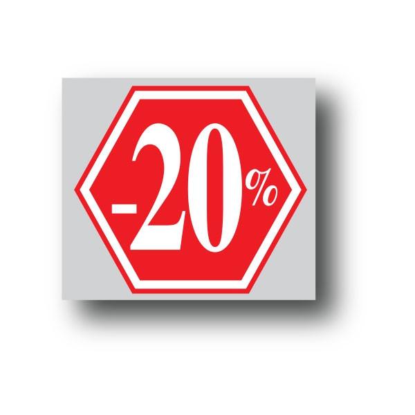 """Affiche """"-20%"""" L40 H40 cm"""