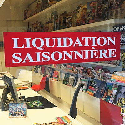 """Affiche """"LIQUIDATION SAISONNIERE"""" L86 H20 cm"""