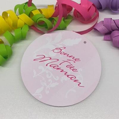 """Paquet de 50 étiquettes carton """"Bonne fête maman"""" Diamètre : 110 mm"""