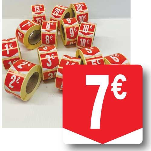 """Rouleau de 500 étiquettes adhésives """"7€"""" 35mm"""