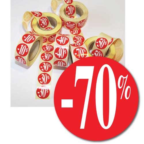 """Rouleau de 500 étiquettes adhésives """"-70%"""" 24 mm"""