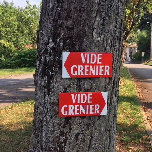 """Panneau  """"VIDE GRENIER"""" 2 L38 H20,5 cm"""