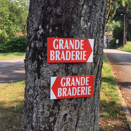 """Panneau  """"GRANDE BRADERIE"""" L38 H20,5 cm"""